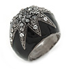 Statement Dome Shape Black Enamel with Crystal Star Motif Band Ring In Black Tone