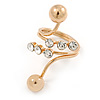 Double Ball Clear Crystal Spiral Ring In Gold Plated Metal - Size 8