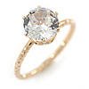 Delicate Clear Round-Cut Crystal Solitaire Ring In Gold Plating - Size 7