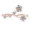Delicate Gold Plated Crystal Floral Double Finger Adjustable Ring