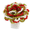 Olive/ Red/ White Glass Bead Flower Stretch Ring - 35mm Diameter