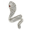 Clear Crystal Snake Ring In Rhodium Plated Metal - 45mm L - Size 7