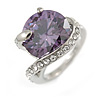 Statement Round Cut Amethyst Glass Stone Clear Crystal Rings In Rhodium Plating - Size 8