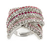 Statement 'Criss Cross' Pink, Magenta, Clear Crystal Rings In Rhodium Plated Metal - 7/8 Size Adjustable