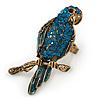 Large Teal Crystal Parrot Bird Ring In Antique Gold Metal - 60mm L - 7/8 Size Adjustable