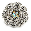 Large Clear, AB Crystal Layered Flower Ring In Silver Tone Metal - 40mm Diameter - 7/8 Size Adjustable