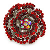 Large Red, Burgundy Crystal Layered Flower Ring In Silver Tone Metal - 40mm Diameter - 7/8 Size Adjustable