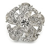 Clear Crystal and Glass Stone Flower Ring In Rhodium Plated Metal - 30mm D - 7/8 Size Adjustable