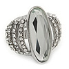 Statement Crystal Dome Cocktail Ring In Rhodium Plated Metal - 7/8 Size Adjustable
