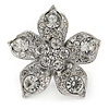Clear Crystal Flower Ring In Silver Tone Metal - 35mm - Size 7