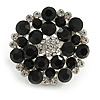Silver Tone Black/ Clear Diamante Cocktail Ring (Adjustable Size 7/8)