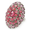 Pink Crystal Dome Oval Ring In Silver Tone Metal - 35mm L - Size 7