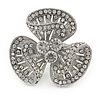 Clear Crystal 3 Petal Flower Ring In Silver Tone Metal - 40mm - Size 7