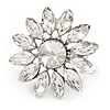 Clear Crystal Flower Ring In Silver Tone Metal - 33mm - Size 7