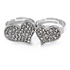 Silver Plated Double Finger Diamante Two Hearts Ring - Size 7&8 - Adjustable