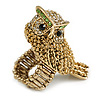 Vintage Inspired Chunky Textured Crystal Owl Ring In Aged Gold Tone - 50mm Across - Size 8/9  Adjustable