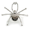 Striking Clear/ Grey/ Black Crystal Spider Ring In Silver Tone - 45mm Across - 7/8 Size Adjustable