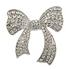 Oversized Crystal Bow Ring In Silver Tone Metal - 60mm Across - 7/8 Size Adjustable