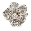 Clear Crystal Rose Flower Ring In Silver Tone - 30mm D - 7/8 Size Adjustable