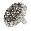 Oval Dome Shape Clear/ Grey Crystal Ring In Silver Tone Metal - 30mm Long - 7/8 Size Adjustable