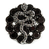 Crystal Snake On Black Flower Ring In Silver Tone Finish - 7/8 Size Adjustable - 35mm D