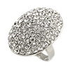 Oval Dome Shape Clear Crystal Ring In Silver Tone Metal - 30mm Long - 7/8 Size Adjustable