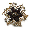 Oversized Vintage Inspired Filigree with Black Acrylic Bead, Grey Crystal Flower Ring In Bronze Tone - 60mm D - 7/8 Adjustable Size