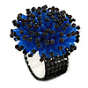 Blue/ Black Glass/ Acrylic Bead Flower Flex Ring - 35mm Diameter