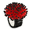 Red/ Black Glass/ Acrylic Bead Flower Flex Ring - 35mm Diameter