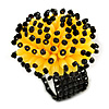 Bright Yellow/ Black Glass/ Acrylic Bead Flower Flex Ring - 35mm Diameter