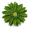 Lime Green Leather Daisy Flower Ring - 40mm D - Adjustable