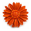 Bright Orange Leather Daisy Flower Ring - 40mm D - Adjustable