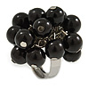 Black Faux Pearl Bead Cluster Ring in Silver Tone Metal - Adjustable 7/8
