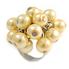 Pale Yellow Faux Pearl Bead Cluster Ring in Silver Tone Metal - Adjustable 7/8