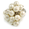 Light Cream Faux Pearl Bead Cluster Ring in Silver Tone Metal - Adjustable 7/8