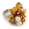 Antique Yellow Sea Shell Nugget and Cream Faux Freshwater Pearl Cluster Silver Tone Ring - 7/8 Size - Adjustable