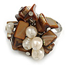 Brown Sea Shell Nugget and Cream Faux Freshwater Pearl Cluster Silver Tone Ring - 7/8 Size - Adjustable