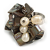 Dark Grey Sea Shell Nugget and Cream Faux Freshwater Pearl Cluster Silver Tone Ring - 7/8 Size - Adjustable