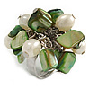 Green Sea Shell Nugget and Cream Faux Freshwater Pearl Cluster Silver Tone Ring - 7/8 Size - Adjustable