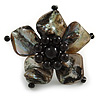 Black Shell and Faux Pearl Flower Rings (Silver Tone) - 50mm Diameter - Size 7/8 Adjustable