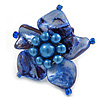 Blue Shell and Faux Pearl Flower Rings (Silver Tone) - 50mm Diameter - Size 7/8 Adjustable
