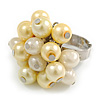 Pale Yellow/ Cream Faux Pearl Bead Cluster Ring in Silver Tone Metal - Adjustable 7/8