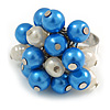 Blue/ Cream Faux Pearl Bead Cluster Ring in Silver Tone Metal - Adjustable 7/8