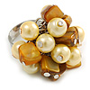 Antique Yellow Sea Shell Nugget and Pale Yellow Faux Pearl Cluster Bead Silver Tone Ring - 7/8 Size - Adjustable