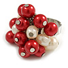 Red/ Cream Faux Pearl Bead Cluster Ring in Silver Tone Metal - Adjustable 7/8