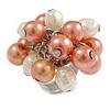 Peach Orange/ Cream Faux Pearl Bead Cluster Ring in Silver Tone Metal - Adjustable 7/8