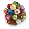 Multicoloured Sea Shell Nugget and Faux Pearl Cluster Bead Silver Tone Ring - 7/8 Size - Adjustable