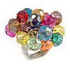 Multicoloured Glass Bead Cluster Ring in Silver Tone Metal - Adjustable 7/8