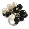 Black/ Cream Faux Pearl Bead Cluster Ring in Silver Tone Metal - Adjustable 7/8