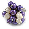 Purple/ Cream Faux Pearl Bead Cluster Ring in Silver Tone Metal - Adjustable 7/8